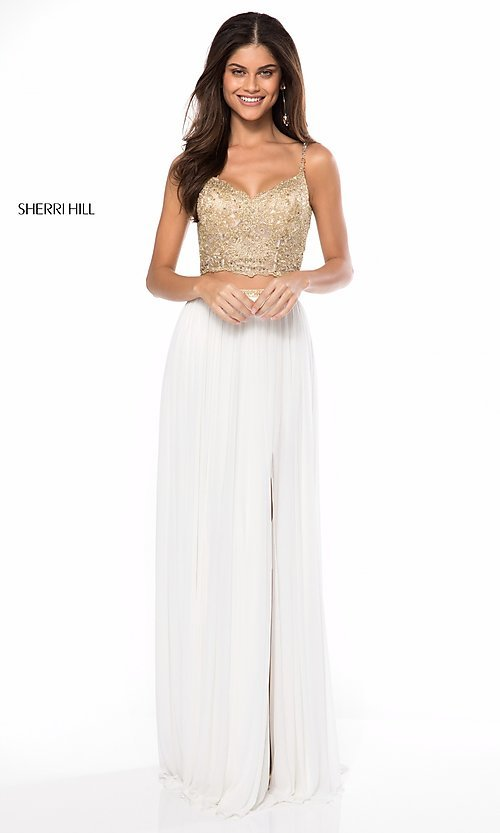 Image of long v-neck two-piece prom dress by Sherri Hill. Style: SH-51842 Front Image