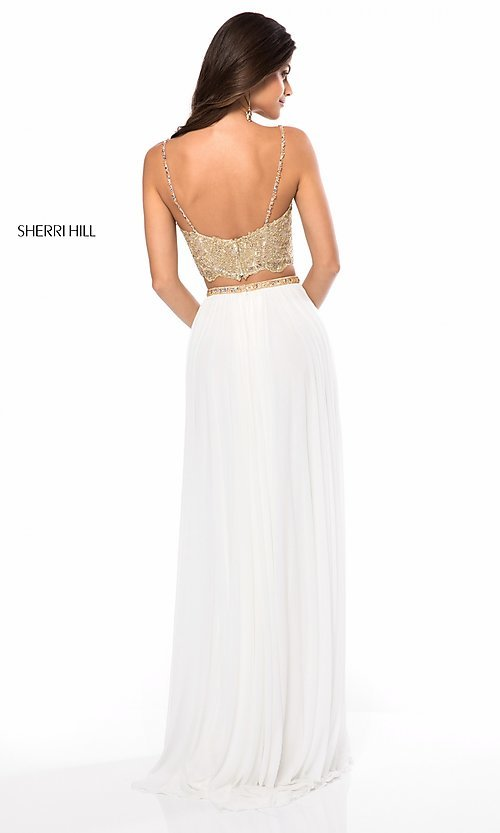 Image of long v-neck two-piece prom dress by Sherri Hill. Style: SH-51842 Back Image