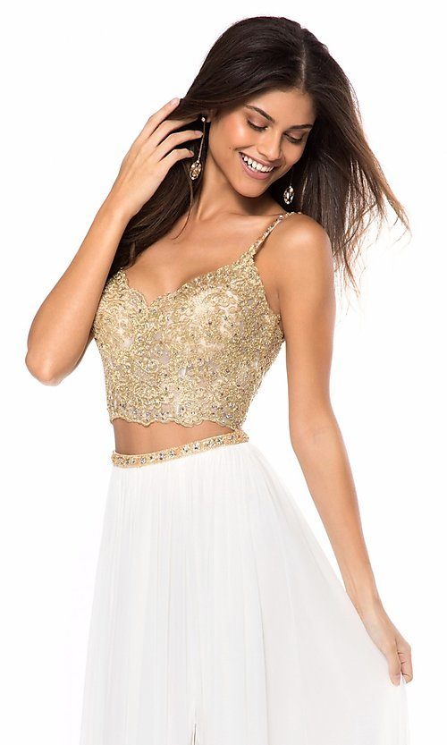 Image of long v-neck two-piece prom dress by Sherri Hill. Style: SH-51842 Detail Image 2