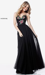 Black Sherri Hill Prom Dress with Beaded Bodice