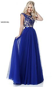Image of Sherri Hill open-back long prom dress with embroidery. Style: SH-51638 Front Image