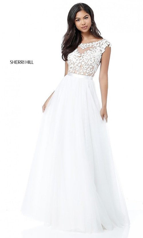 Image of Sherri Hill open-back long prom dress with embroidery. Style: SH-51638 Detail Image 1