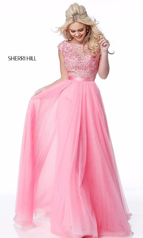 Image of Sherri Hill open-back long prom dress with embroidery. Style: SH-51638 Detail Image 2