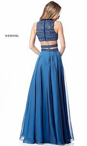 Image of Sherri Hill two-piece long prom dress with beaded top. Style: SH-51871 Back Image