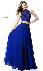 Image of Sherri Hill two-piece long prom dress with beaded top. Style: SH-51871 Front Image
