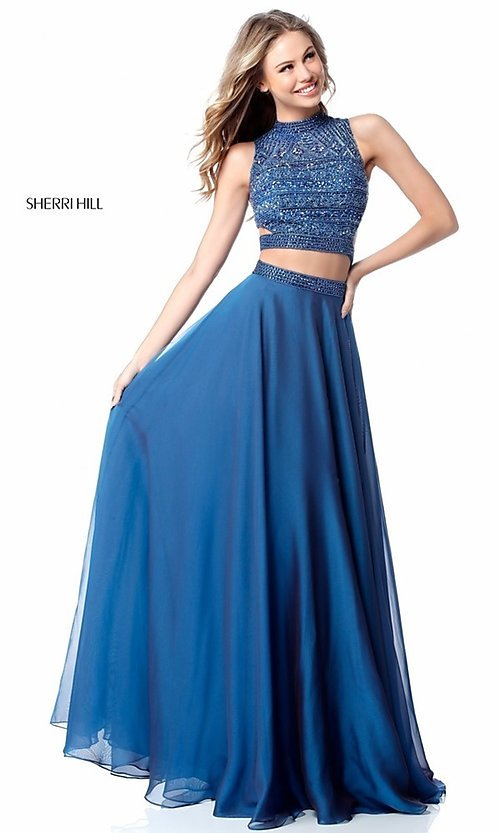 Image of Sherri Hill two-piece long prom dress with beaded top. Style: SH-51871 Detail Image 3