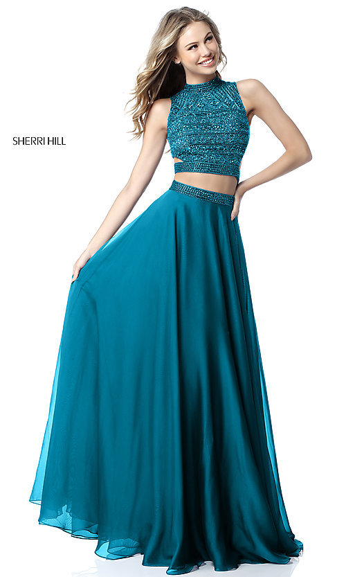 Image of Sherri Hill two-piece long prom dress with beaded top. Style: SH-51871 Detail Image 1