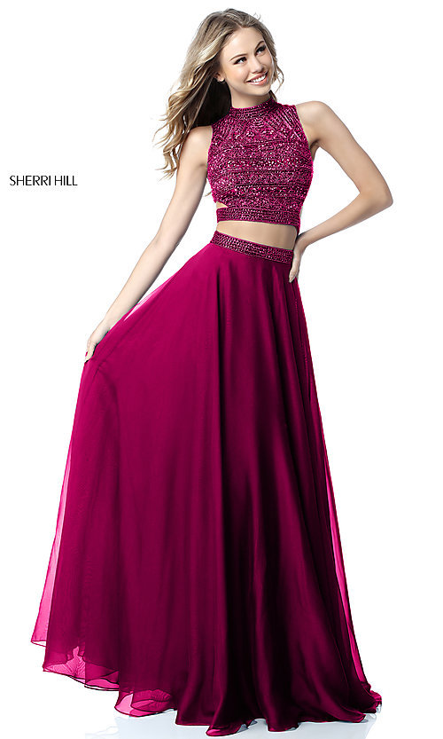 Image of Sherri Hill two-piece long prom dress with beaded top. Style: SH-51871 Detail Image 2