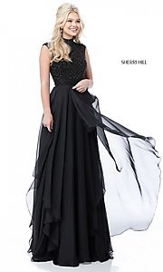 Image of Sherri Hill long formal prom dress with beaded bodice. Style: SH-51687 Detail Image 3