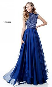 Sherri Hill Long Formal Prom Dress with Beaded Bodice