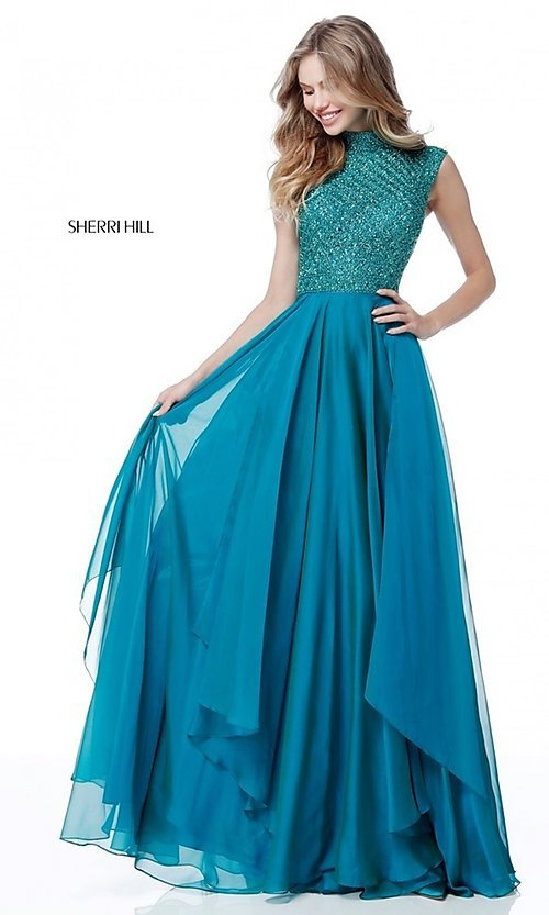 Image of Sherri Hill long formal prom dress with beaded bodice. Style: SH-51687 Detail Image 1