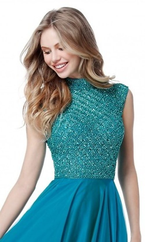 Image of Sherri Hill long formal prom dress with beaded bodice. Style: SH-51687 Detail Image 2