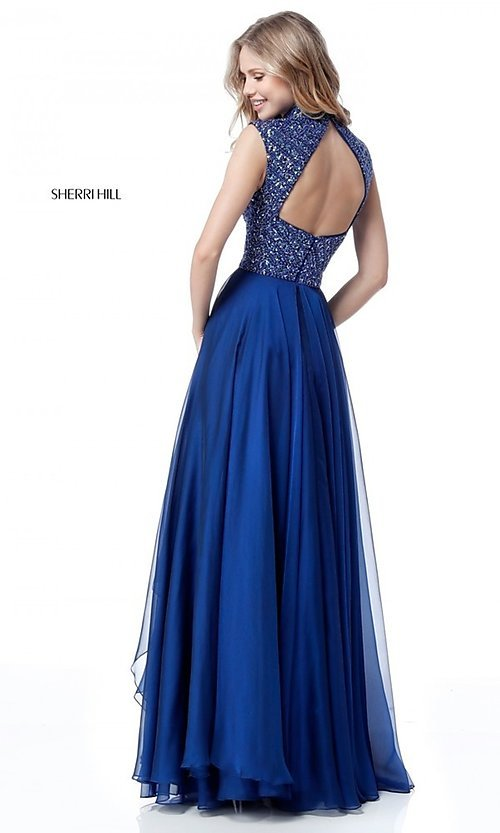 Image of Sherri Hill long formal prom dress with beaded bodice. Style: SH-51687 Back Image