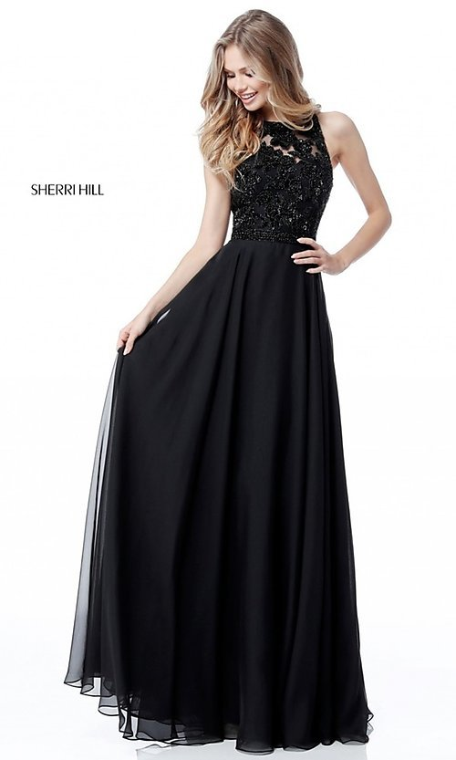 Image of high-neck sleeveless long prom dress by Sherri Hill. Style: SH-51694 Front Image