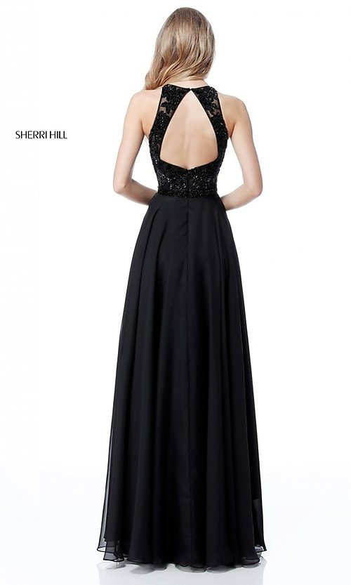 Image of high-neck sleeveless long prom dress by Sherri Hill. Style: SH-51694 Back Image