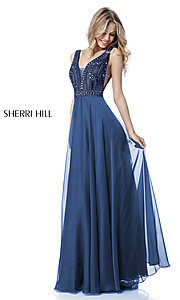Open-Back Sherri Hill Long Formal Prom Dress