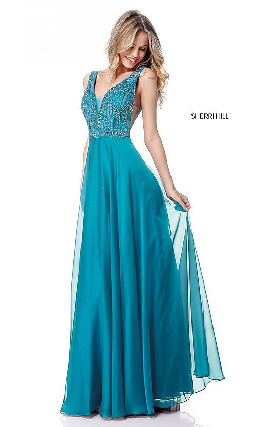 Image of open-back Sherri Hill long formal prom dress. Style: SH-51874 Detail Image 2