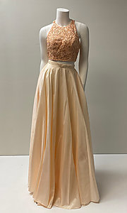 Image of two-piece prom ball gown with back cut out. Style: SH-51723 Front Image