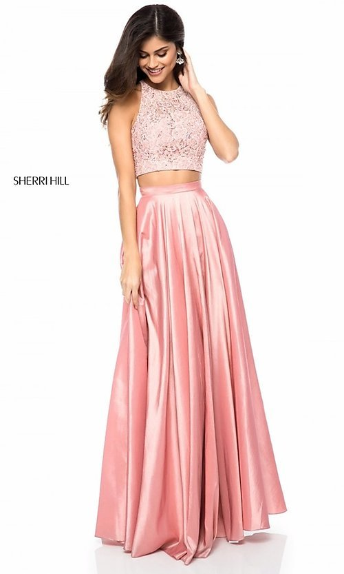 Image of two-piece Sherri Hill prom dress with back cut out. Style: SH-51723 Detail Image 1
