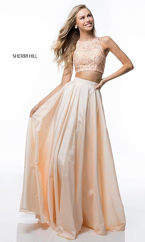 Image of two-piece Sherri Hill prom dress with back cut out. Style: SH-51723 Front Image