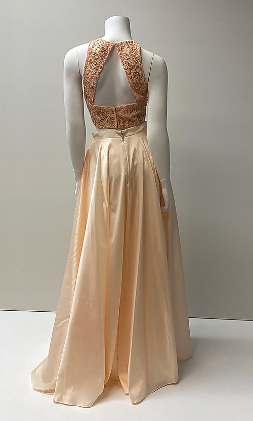 Image of two-piece prom ball gown with back cut out. Style: SH-51723 Back Image