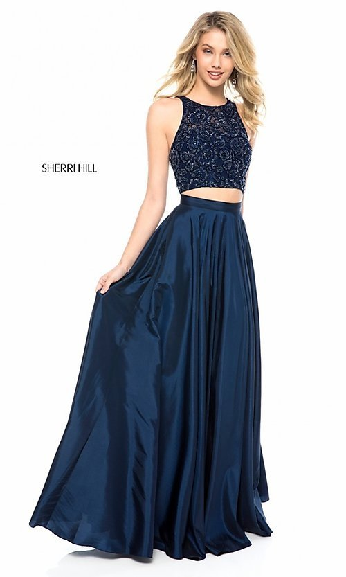 Image of two-piece Sherri Hill prom dress with back cut out. Style: SH-51723 Detail Image 2