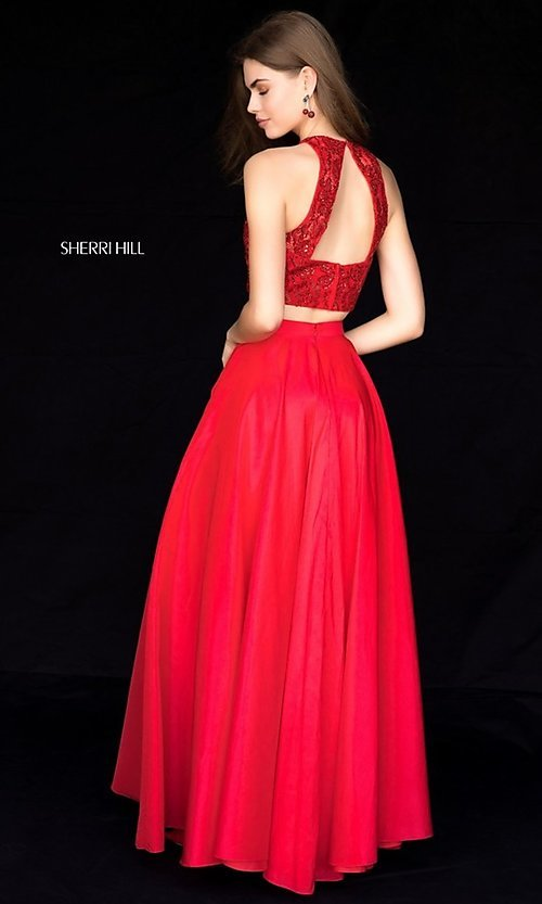 Image of two-piece Sherri Hill prom dress with back cut out. Style: SH-51723 Back Image