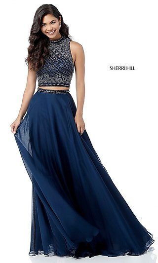 Two-Piece Designer Prom Dress with Beaded Top