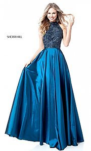 T-Back Sherri Hill Long Prom Dress with Beaded Bodice