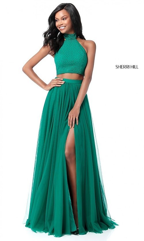 Image of two-piece Sherri Hill long prom dress with open back. Style: SH-51721 Detail Image 3