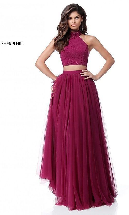 Image of two-piece Sherri Hill long prom dress with open back. Style: SH-51721 Detail Image 1