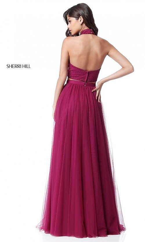 Image of two-piece Sherri Hill long prom dress with open back. Style: SH-51721 Back Image