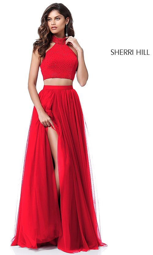 Image of two-piece Sherri Hill long prom dress with open back. Style: SH-51721 Detail Image 2