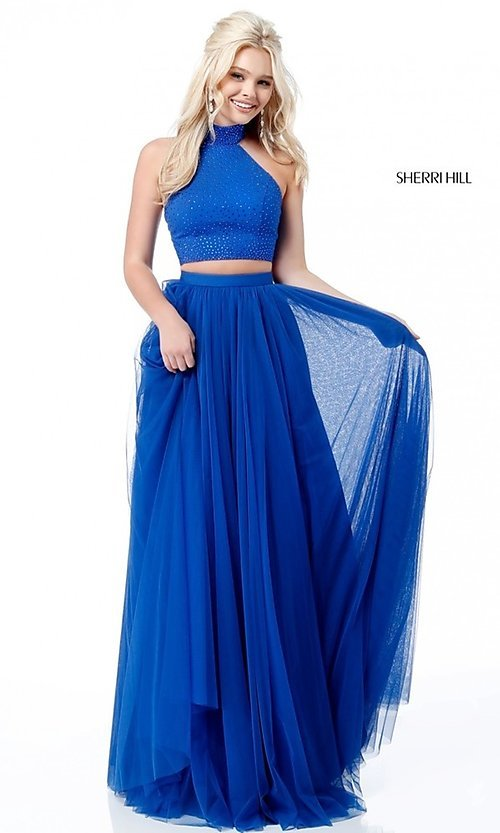 01f8d1cd4ee Image of two-piece Sherri Hill long prom dress with open back. Style