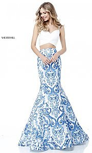 Ivory and Blue Two-Piece Dress by Sherri Hill