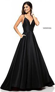 Image of Sherri Hill long v-neck prom dress with pockets. Style: SH-51822 Detail Image 2