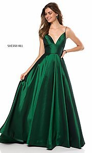 Image of Sherri Hill long v-neck prom dress with pockets. Style: SH-51822 Detail Image 1