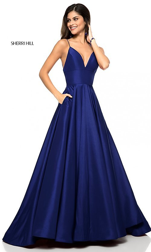 Image of Sherri Hill long v-neck prom dress with pockets. Style: SH-51822 Detail Image 3