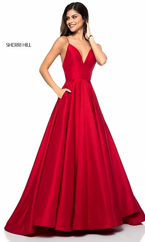 34fba92e90bc Image of Sherri Hill long v-neck prom dress with pockets. Style  SH