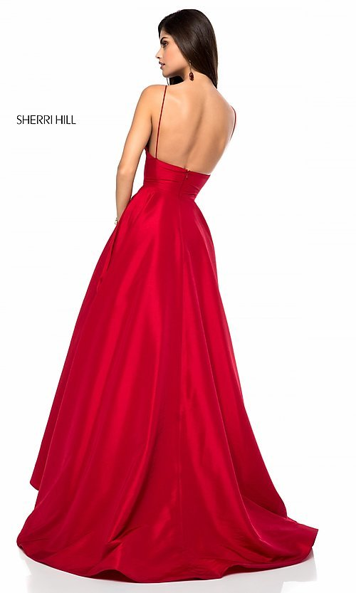 Image of Sherri Hill long v-neck prom dress with pockets. Style: SH-51822 Back Image