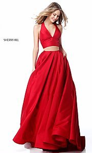 V-Neck Halter Two-Piece Prom Dress by Sherri Hill