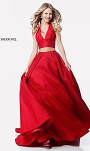 Image of v-neck halter two-piece prom dress by Sherri Hill. Style: SH-51923 Detail Image 1