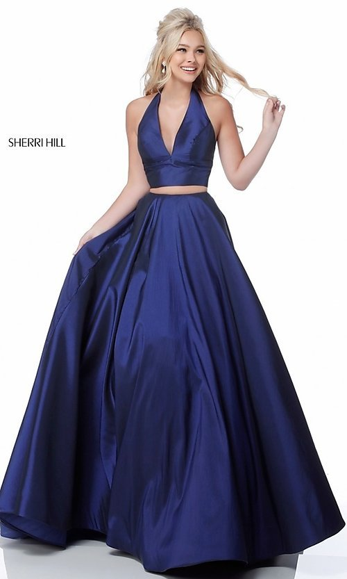 Image of v-neck halter two-piece prom dress by Sherri Hill. Style: SH-51923 Detail Image 2
