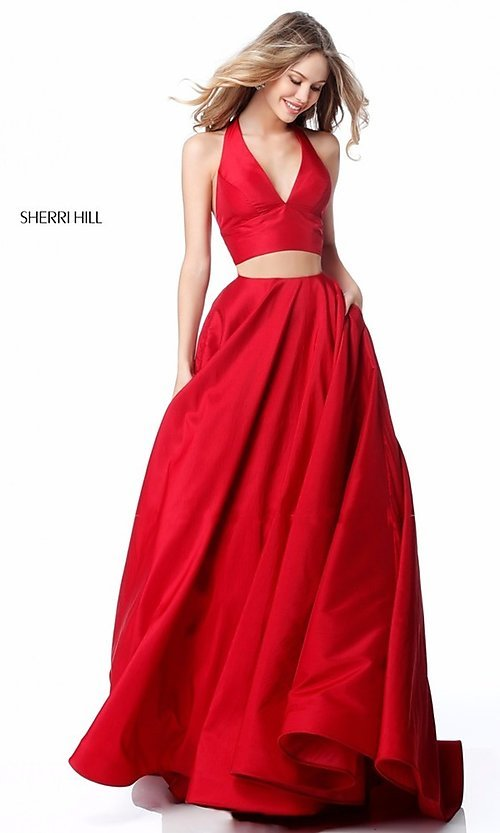 Image of v-neck halter two-piece prom dress by Sherri Hill. Style