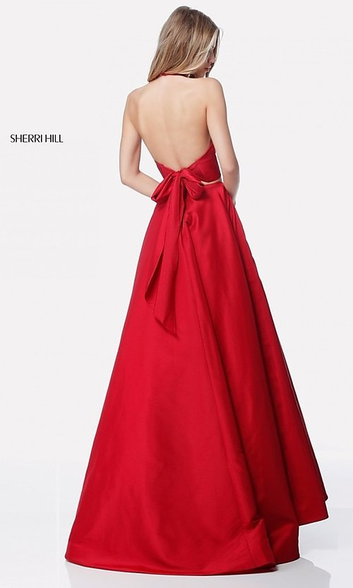 Image of v-neck halter two-piece prom dress by Sherri Hill. Style: SH-51923 Back Image
