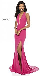 Image of sleeveless deep-v-neck Sherri Hill long prom dress. Style: SH-51806 Detail Image 2