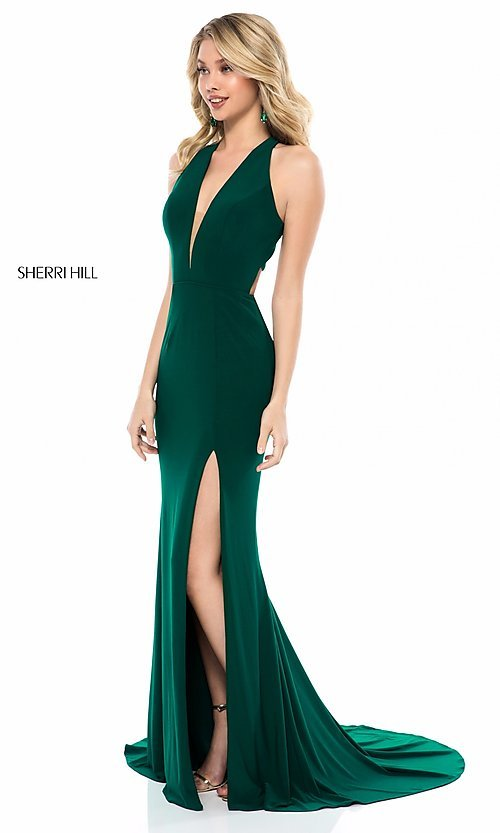 Image of sleeveless deep-v-neck Sherri Hill long prom dress. Style: SH-51806 Detail Image 1