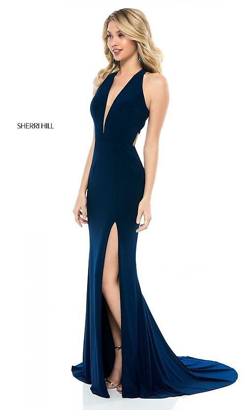 Image of sleeveless deep-v-neck Sherri Hill long prom dress. Style: SH-51806 Front Image