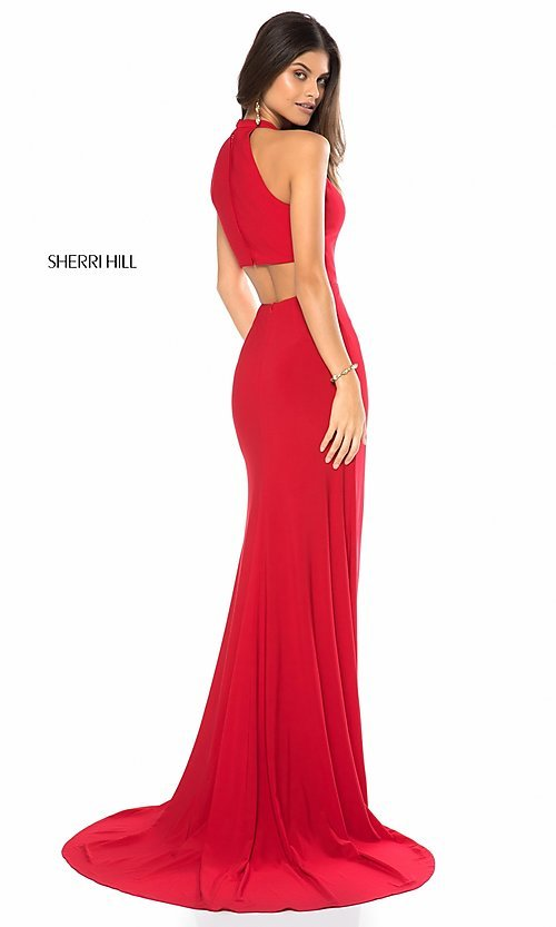 Image of sleeveless deep-v-neck Sherri Hill long prom dress. Style: SH-51806 Back Image
