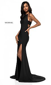 Image of long formal Sherri Hill prom dress with train. Style: SH-51947 Detail Image 3